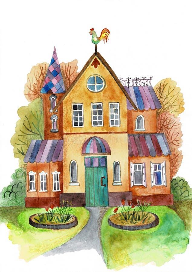 Het hand geschilderde huis van de waterverffamilie met bomen de kaart van de de herfstdankzegging royalty-vrije stock foto's