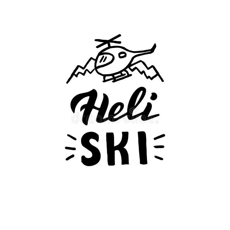 Het hand geschreven embleem van de heliski Banner voor de sport van bergfreeride royalty-vrije illustratie