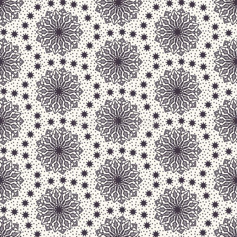 Het hand getrokken abstracte patroon van de wintersneeuwvlokken Modieuze kristalsterren Witte ecruachtergrond De elegante eenvoud vector illustratie