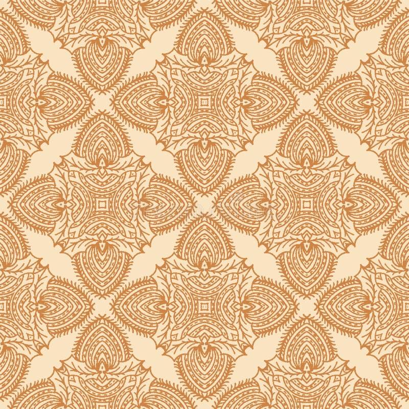 Het hand getrokken abstracte patroon van het Kerstmisgebladerte Het damast decoratieve achtergrond van het hulstmotief De de wint stock illustratie
