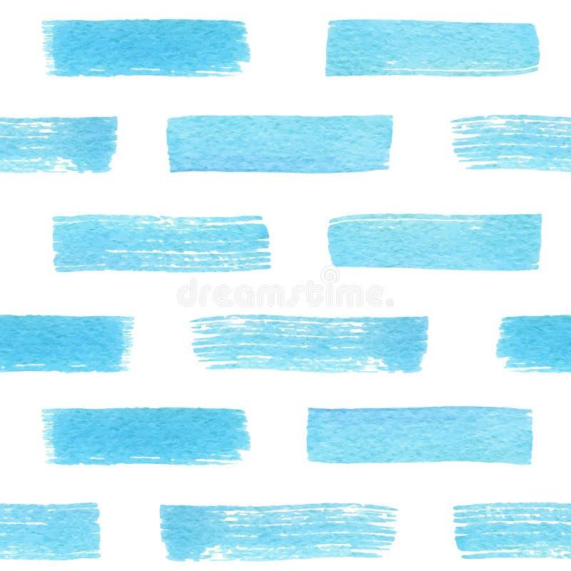 Het hand getrokken blauwe naadloze patroon van de waterverftextuur Vector royalty-vrije illustratie