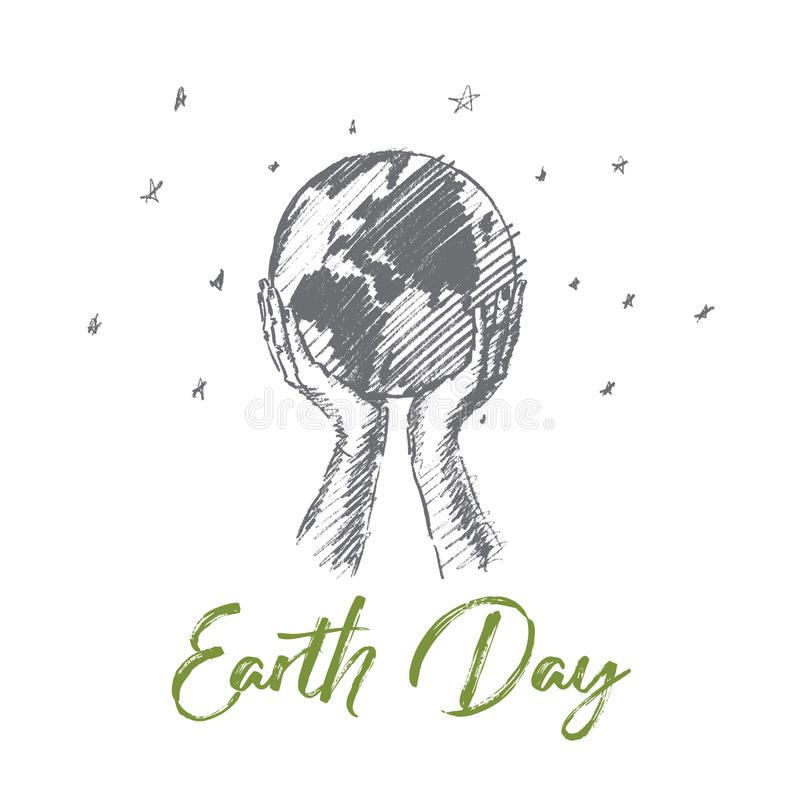 Het hand getrokken concept van de Aardedag met het van letters voorzien stock illustratie