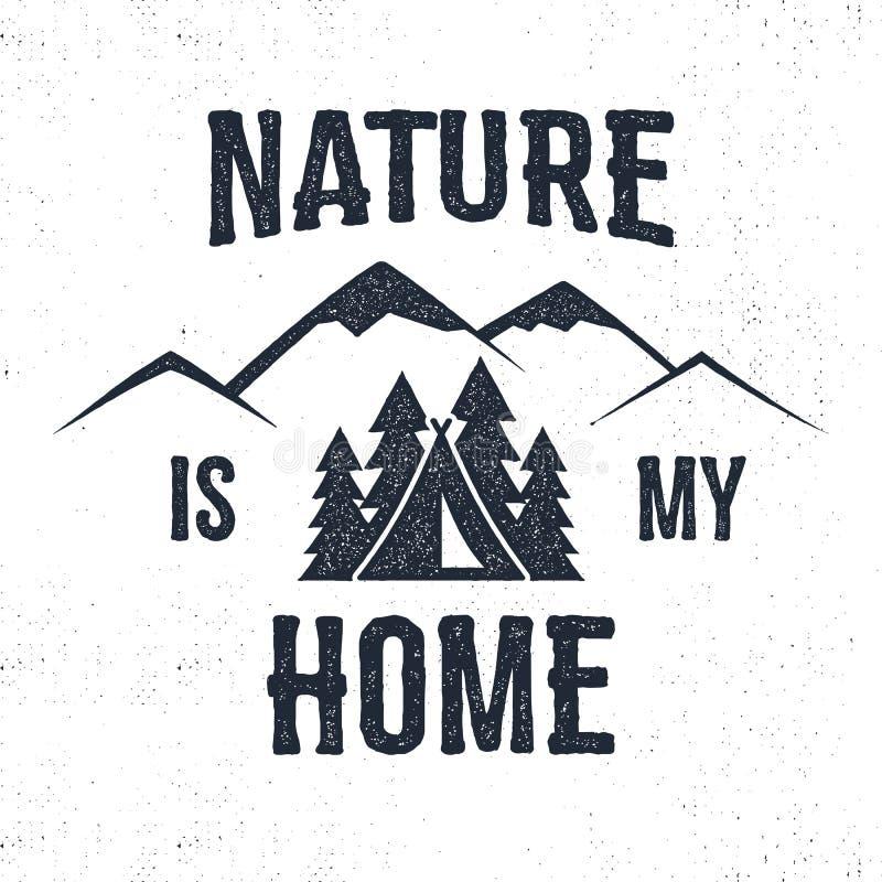 Het hand getrokken etiket van bergadvventure De aard is mijn huisillustratie royalty-vrije illustratie