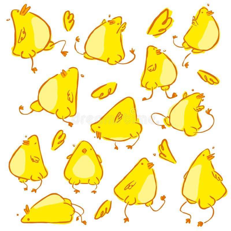 Het hand getrokken grappige vectorkarakter van de babykip stock illustratie