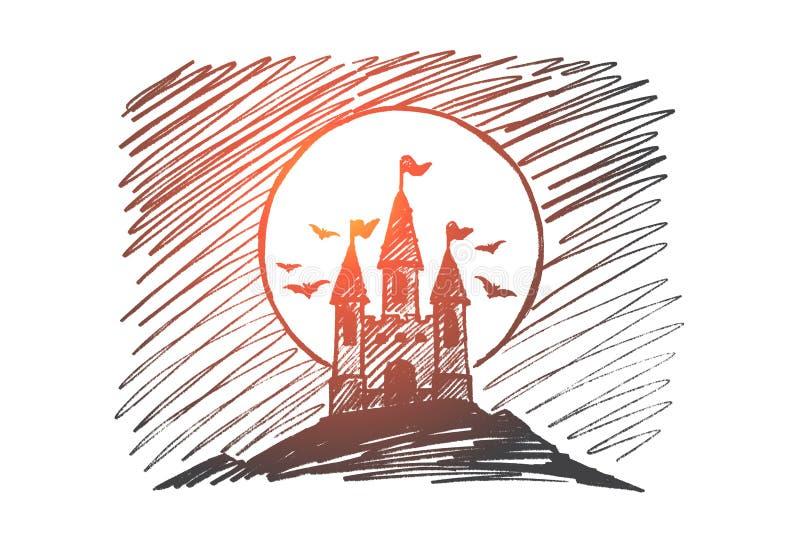 Download Het Hand Getrokken Kasteel Van Halloween Dracula Op Heuvel Vector Illustratie - Illustratie bestaande uit devilry, ontwerp: 114225211