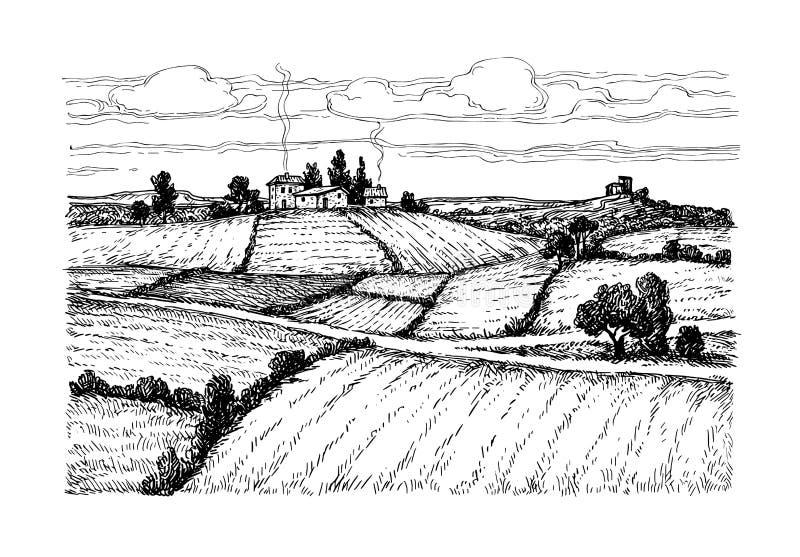 Het hand getrokken landelijke landschap van de inktschets vector illustratie