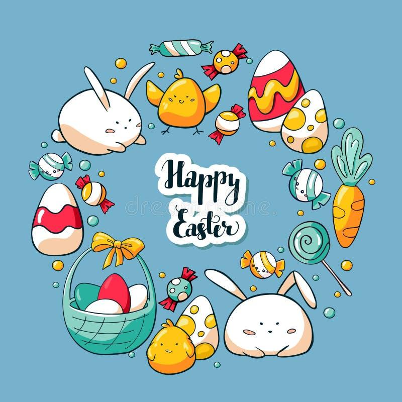 Het hand getrokken malplaatje van de krabbelkaart met leuke Pasen-elementen Het gelukkige Pasen-van letters voorzien Krabbeleleme stock illustratie