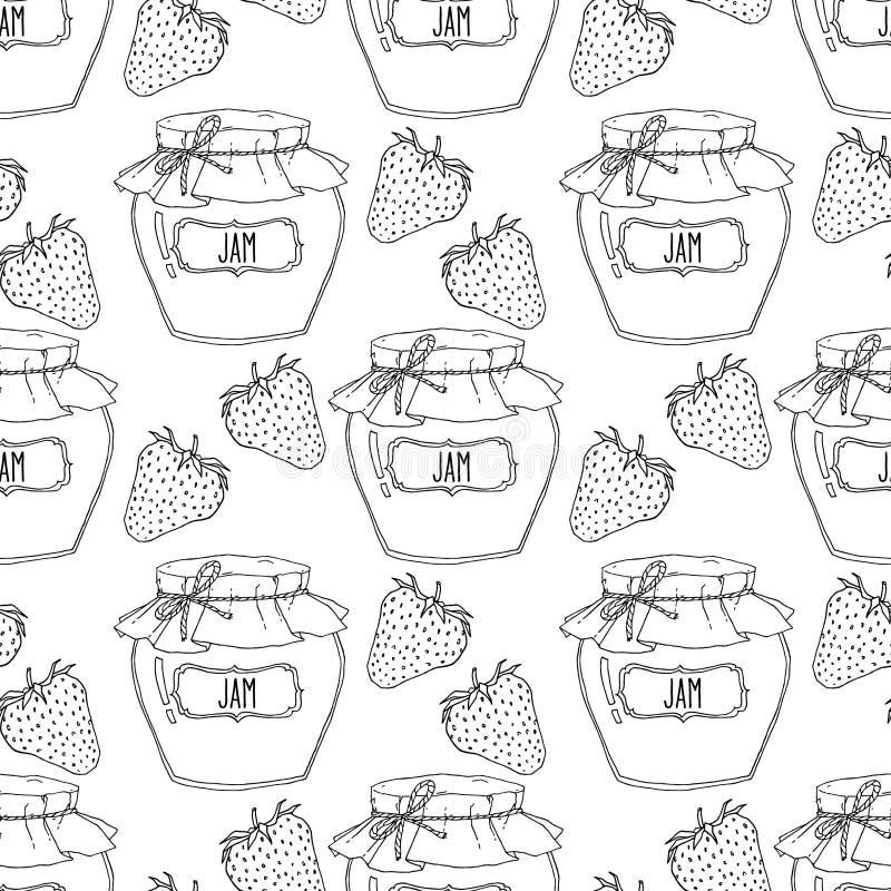 Het hand getrokken naadloze patroon van aardbeijampotten vector illustratie