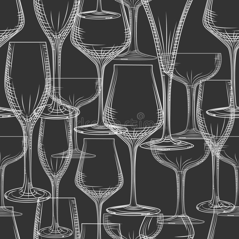 Het hand getrokken naadloze patroon van het barglaswerk op zwarte achtergrond royalty-vrije stock foto