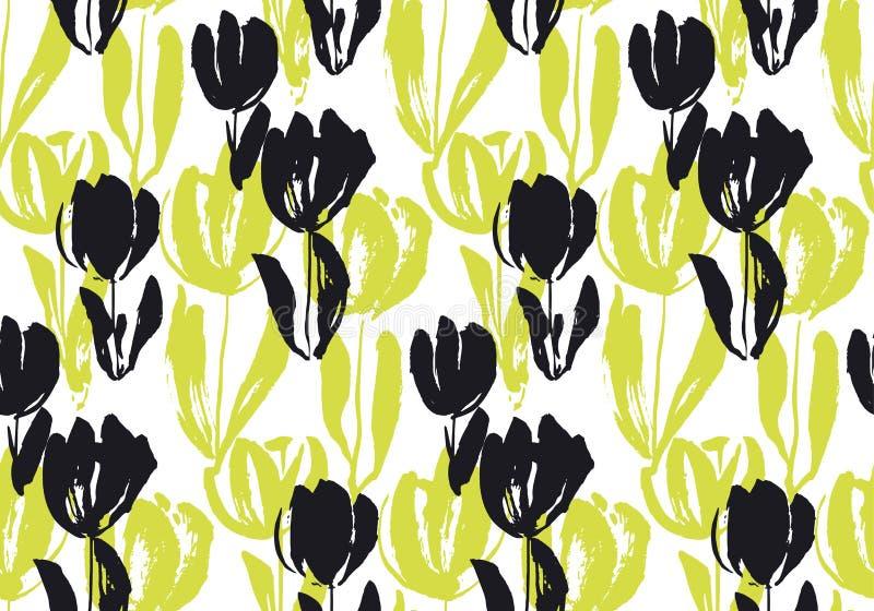Het hand getrokken naadloze patroon van de tulpenbloem royalty-vrije illustratie
