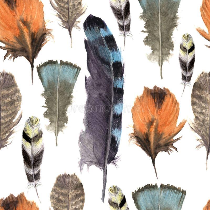 Het hand getrokken naadloze patroon van de waterverf trillende veer De stijl van de Bohoveer Illustratie op wit Vogelveervlieg de stock illustratie