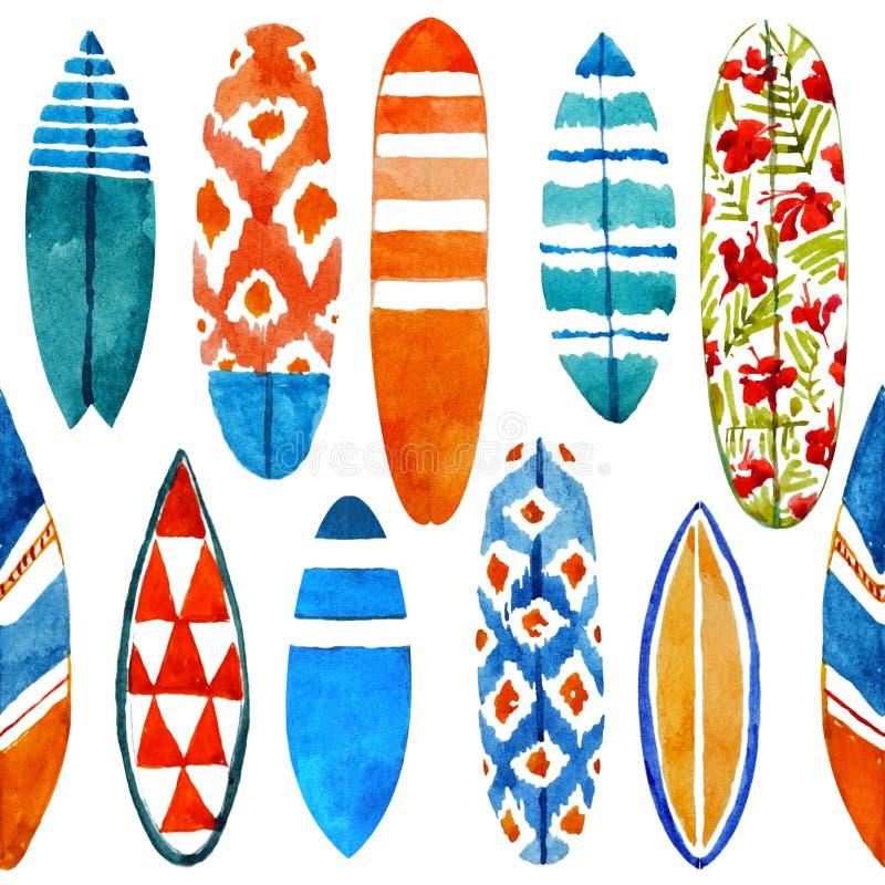 Het hand getrokken naadloze patroon van de waterverfsurfplank stock illustratie