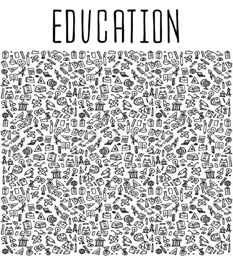 Het hand getrokken naadloze patroon van het Schoolonderwijs stock illustratie