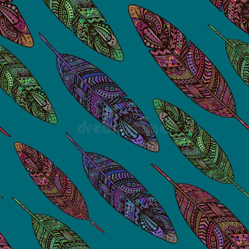 Het hand getrokken naadloze patroon van krabbelveren royalty-vrije illustratie