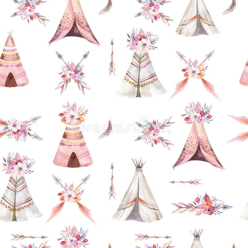 Het hand getrokken naadloze patroon van het waterverf stammentipi, patronen van de het ornamentwigwam van Boho Amerika de traditi vector illustratie