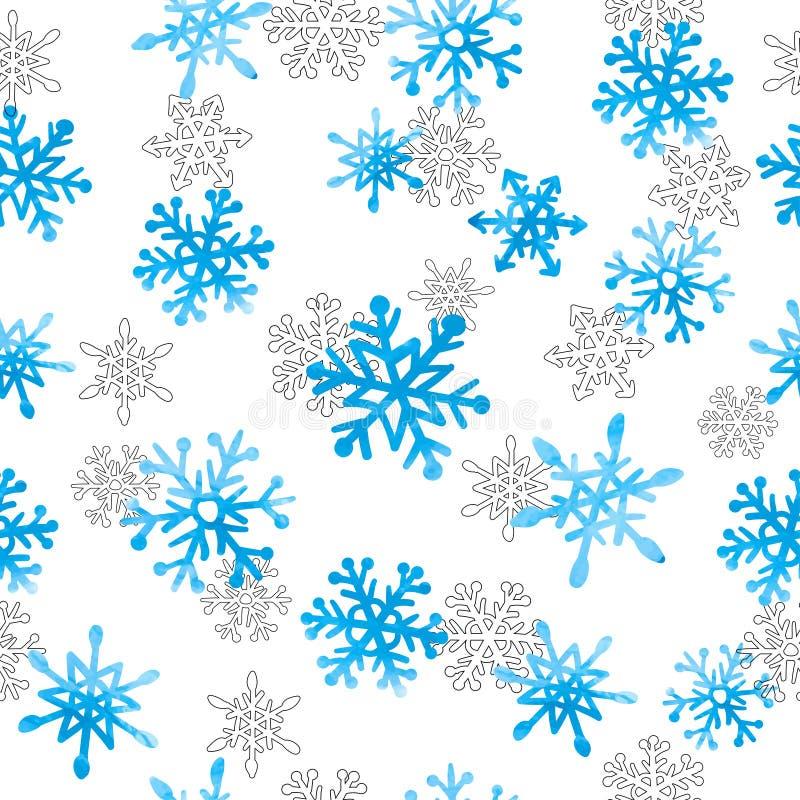 Het hand getrokken naadloze patroon van waterverfsneeuwvlokken royalty-vrije illustratie