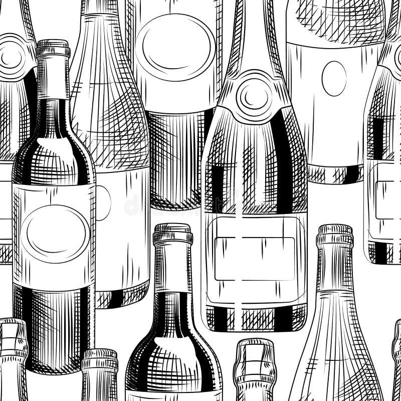 Het hand getrokken naadloze patroon van wijnflessen op witte achtergrond royalty-vrije stock afbeeldingen