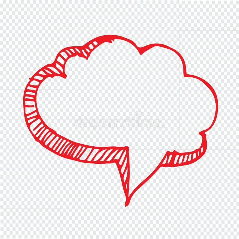 Het hand getrokken ontwerp van het de Illustratiesymbool van de bellentoespraak vector illustratie