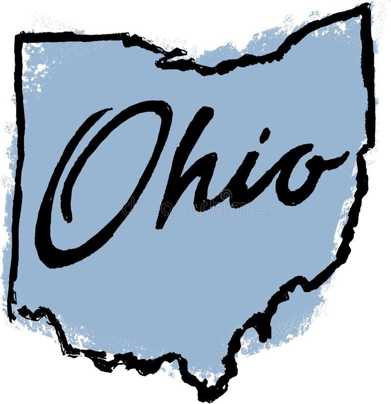 Het hand Getrokken Ontwerp van de Staat van Ohio stock illustratie