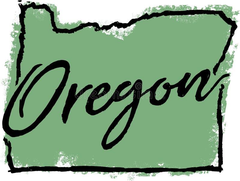 Het hand Getrokken Ontwerp van de Staat van Oregon royalty-vrije illustratie