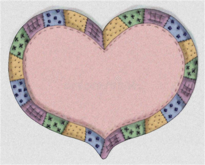 Het hand Getrokken Roze Hart van het Dekbed royalty-vrije illustratie