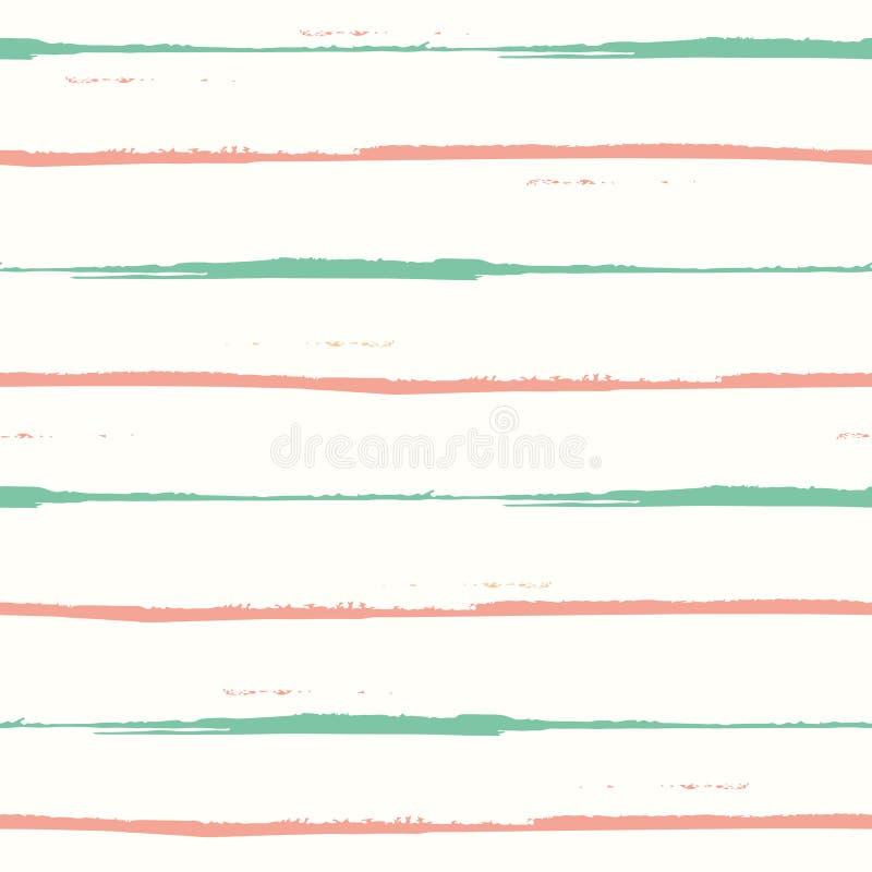 Het hand getrokken sinaasappel en wintertalings geometrische ontwerp van waterverf horizontale strepen Ruim naadloos vectorpatroo stock illustratie