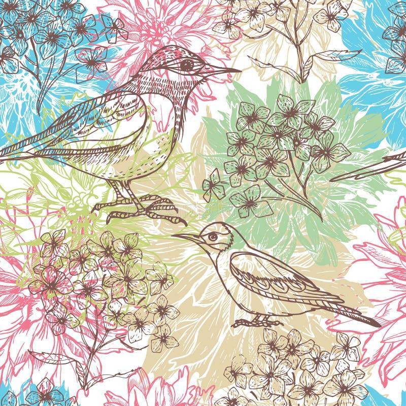 Het hand getrokken van dahliabloemen en vogels naadloze patroon van l stock illustratie
