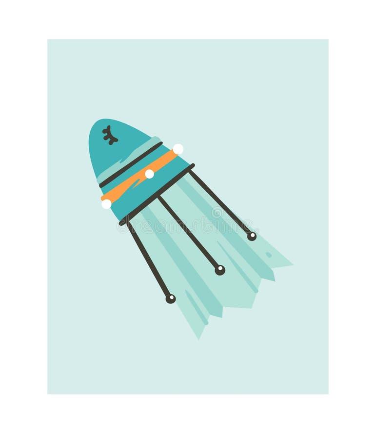 Het hand getrokken vector abstracte grafische creatieve pictogram van beeldverhaalillustraties met eenvoudige het ruimteschiprake royalty-vrije illustratie