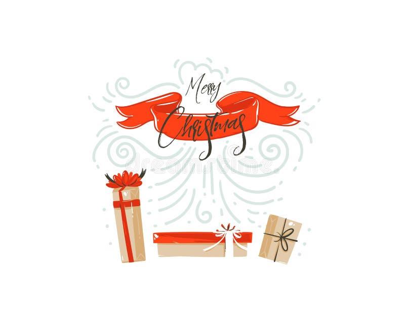 Het hand getrokken vector abstracte van het de tijdbeeldverhaal van pret Vrolijke Kerstmis ontwerp van de de illustratiekaart met vector illustratie
