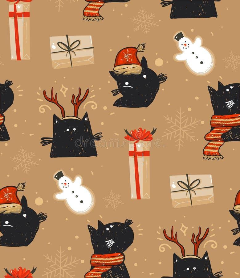 Het hand getrokken vector abstracte van het de tijdbeeldverhaal van pret Vrolijke Kerstmis rustieke feestelijke naadloze patroon  royalty-vrije illustratie