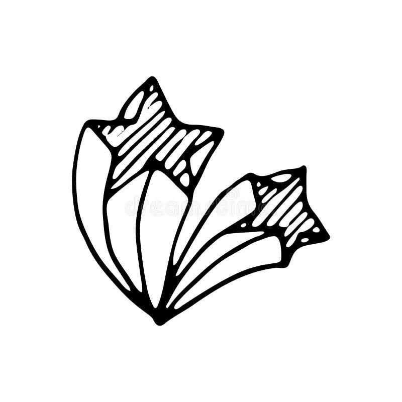 Het hand getrokken vliegende 3D pictogram van de sterrenkrabbel Hand getrokken zwarte schets vector illustratie