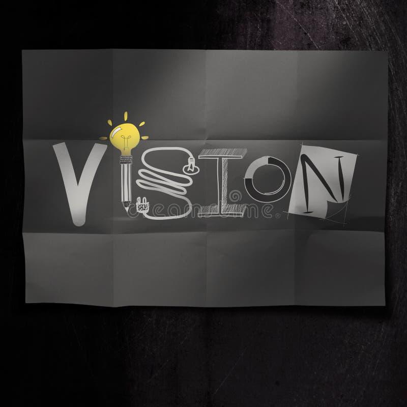 Het hand getrokken woord van het VISIEontwerp op verfrommelde document achtergrond als c royalty-vrije illustratie