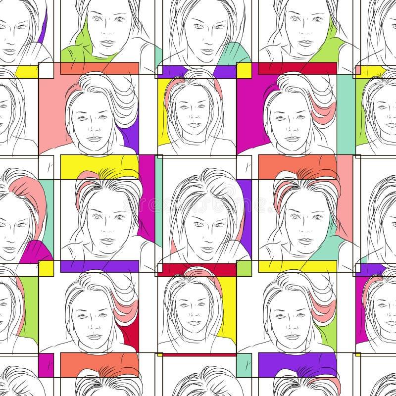 Het hand getrokken zwart-witte gezicht van het selfiemeisje en kleurrijke kaders stock illustratie
