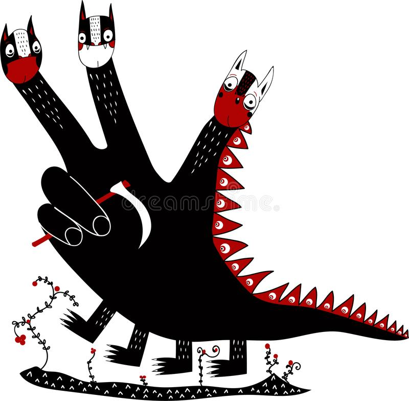 Het hand gevormde symbool van de draakdood royalty-vrije stock fotografie