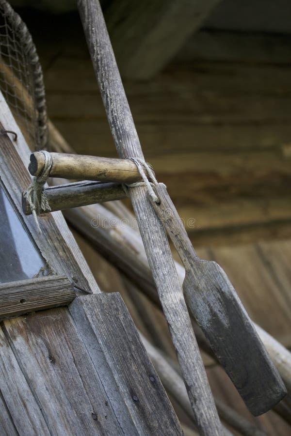 Het hand maaien Handvat antieke met de hand gemaakte vlechten royalty-vrije stock afbeelding