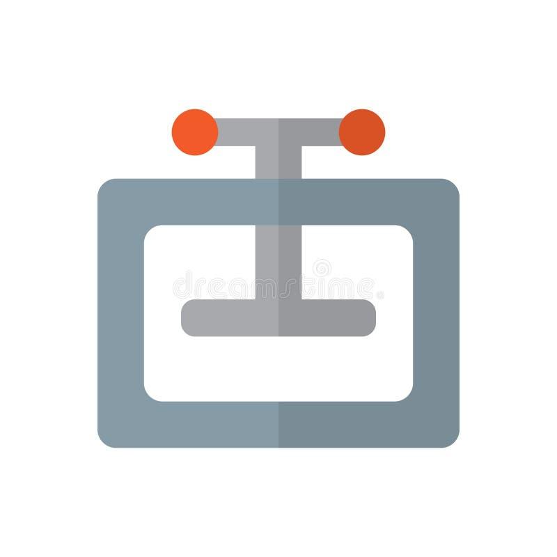 Het hand vlakke pictogram van de persmachine, gevuld vectorteken, kleurrijk die pictogram op wit wordt geïsoleerd royalty-vrije illustratie