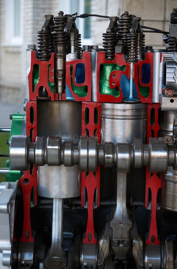 Het handblok van de dwarsdoorsnede automobiele cilinder en autozuiger royalty-vrije stock afbeeldingen