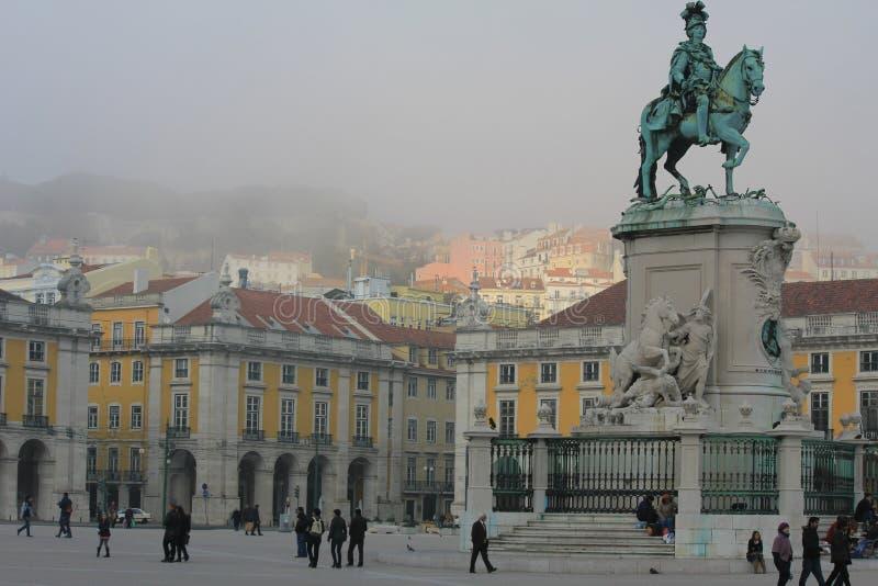 Het Handelsvierkant in Lissabon, Portugal stock fotografie