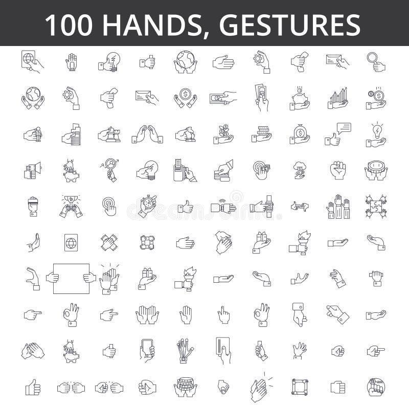 Het handgebaar, aanraking, vinger, palm, handenschudden, wijsvinger, okey, kinetisch gedrag, neemt geld, betaalt door de pictogra vector illustratie