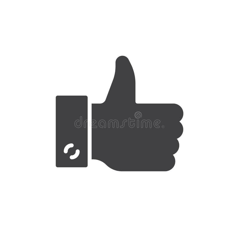 Het handgebaar beduimelt pictogram omhoog vector, gevuld vlak teken, stevig die pictogram op wit wordt geïsoleerd stock illustratie