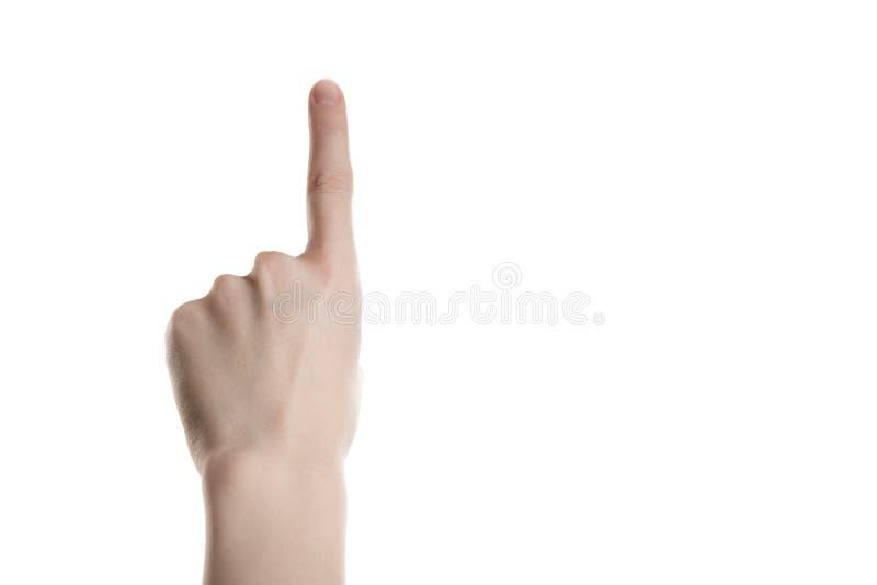 Het handmeisje toont de wijsvinger royalty-vrije stock afbeelding