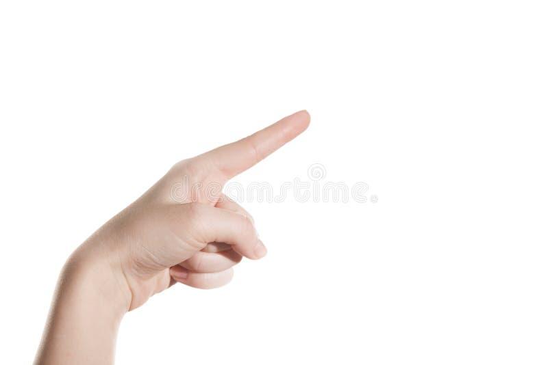Het handmeisje toont de wijsvinger stock afbeelding