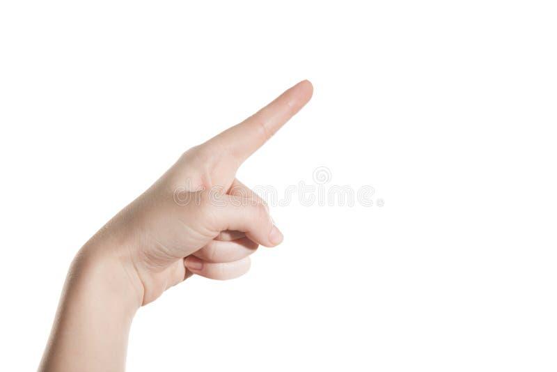 Het handmeisje toont de wijsvinger stock foto