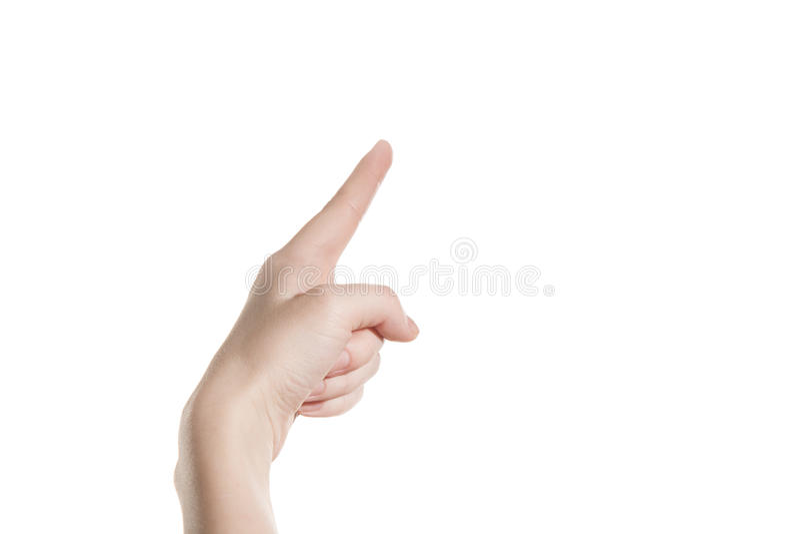 Het handmeisje toont de wijsvinger stock fotografie