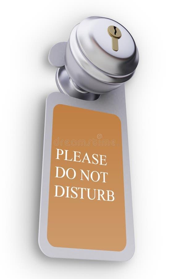 Het handvat van de deur met een leeg teken royalty-vrije illustratie