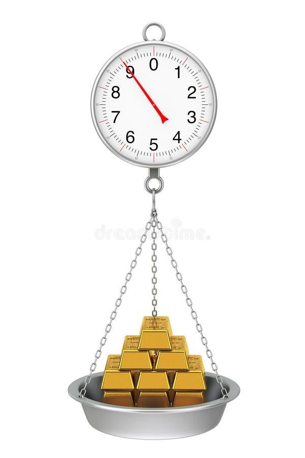 Het hangen Gewichtsschaal met Stapel Gouden Bars het 3d teruggeven stock illustratie