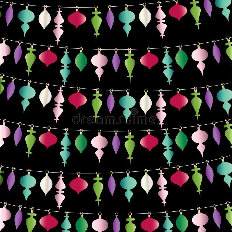 het hangen Kerstmis siert streep op zwarte stock illustratie