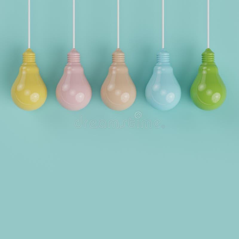 Het hangen kleurrijk de gloeilampen verschillend idee van de pantonepastelkleur op lichtblauwe achtergrond royalty-vrije stock foto's
