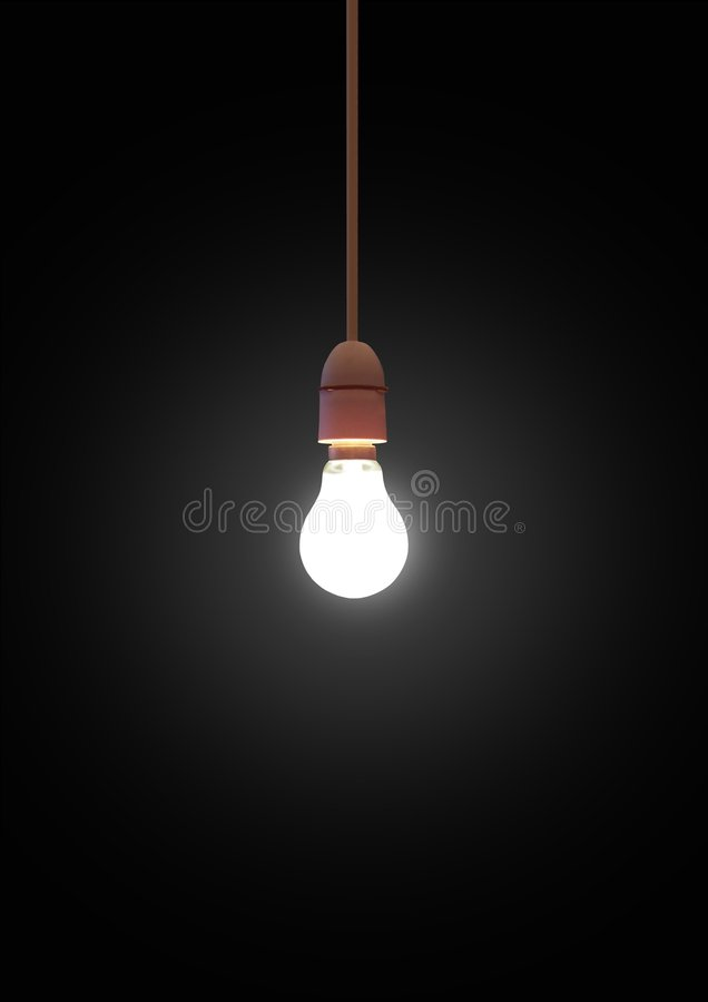 Het hangen lightbulb stock foto