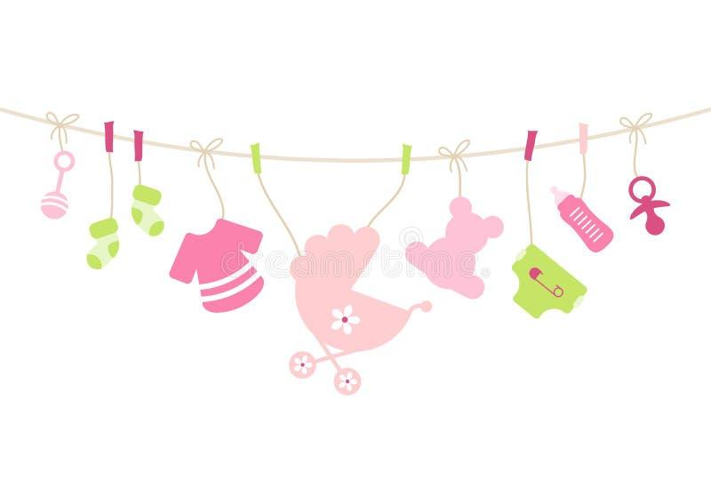 Het hangen het Roze van de het Meisjesboog van Babypictogrammen en Groen vector illustratie
